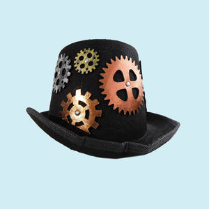 Handmade Retro Punk Unisex Party Hat,  black, 32   13   24 cm, velvet