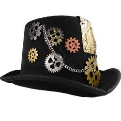 Handmade Retro Punk Unisex Party Hat With Chain,  black, 32   13   24 cm, velvet
