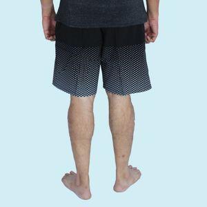 Printed Men's Shorts, xxxl,  black, 90  polyester and 10  spandex