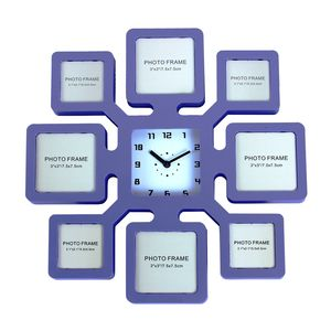 Unique 8 Photos Wall Photo Frame With Clock,  blue, 35   3.5   35 cm, plastic