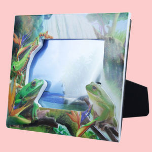 Creative Frog Design With Sand Effect Resin Photo Frame, ceramic, 20   1.5   15.5 cm,  lawn green