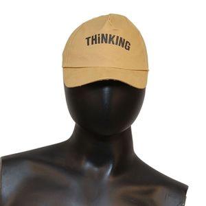 Fab5 Printed Thinking Slogan Velcro Cap (Khaki, Pack Of 1), khaki