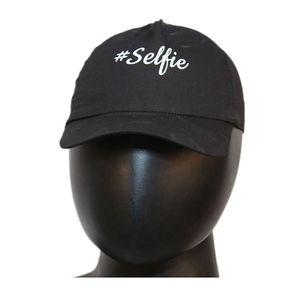 Fab5 Printed Selfie Slogan Velcro Cap (Black, Pack Of 1), black