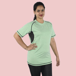 T-Shirts Short Sleeves, 90  polyester and 10  spandex, l,  lawn green