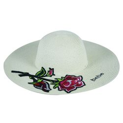 Designer Bebe Baby Rose Paper Hat For Women,  off white, 38   38   17 cm, jute paper