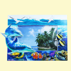 Creative Dolphin Design With Sand Effect Resin Photo Frame, ceramic, 24.5   1.5   17 cm,  blue
