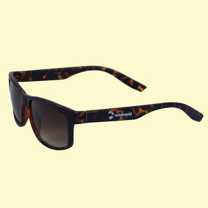 UV Protected Square Unisex Sunglasses, plastic, 18   3   6.5 cm,  brown