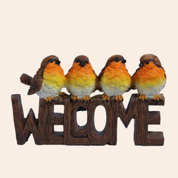 Unique Ceramic Colorfull Parrot Welcome Frame For Home Decor, polyresign, 19.5   6   12 cm,  brown