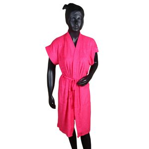 Premium Quality Half Sleeve Soft Terry Cotton Bathrobe-Free Size,  deep pink