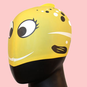 Waterproof Cartoon Dolphin Swimming Cap,  yellow, dot shape, rubber