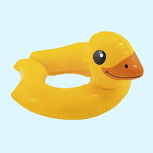 Cute Duck Shape Swimming Pool Float Toddler Ring Tube, 62   57 cm,  yellow, plastic