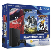 Sony PlayStation 4 (PS4) Slim 500 GB with Horizon Zero Dawn, Drive Club and Ratchet & Clank (Jet Black)