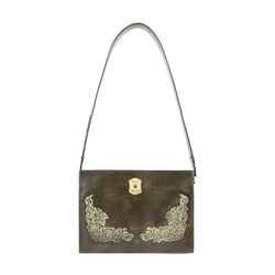 PEARL HART 02 WOMENS HANDBAG EI NATURAL CRUST,  emerald green