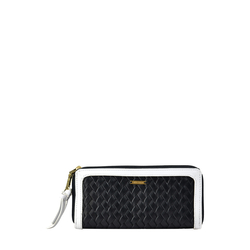 Tanzanite W3 Women's Wallet, Hdn Woven Ranch Lamb,  black