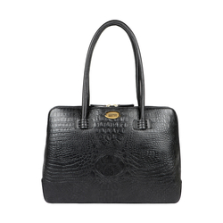 JAXON WOMENS HANDBAG BABY CROCO,  black