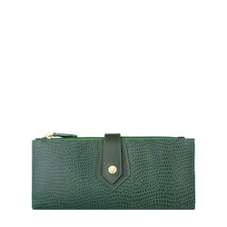 Hong Kong W1 Sb (Rfid) Women's Wallet, Lizard,  emerald green
