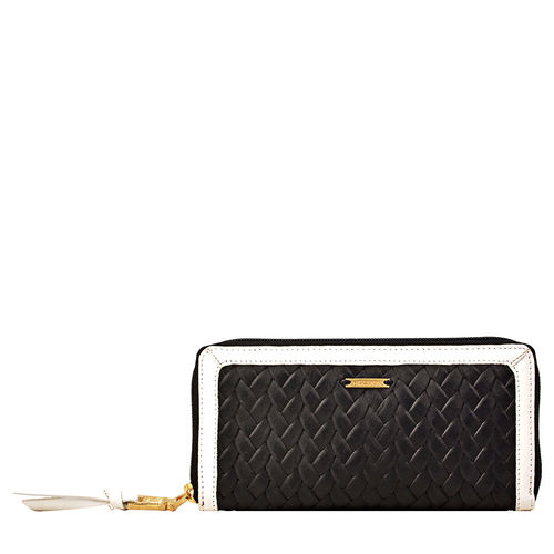 Tanzanite W1 Women s wallet, Hdn Woven Ranch Lamb,  black