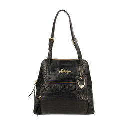 109 01 Women's Handbag, Croco,  black