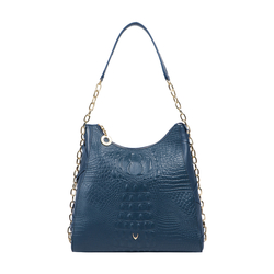 CHARLESTON 02 WOMEN'S HANDBAG BABY CROCO,  midnight blue