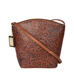 Hamburg Women s Handbag, Flower Embossed,  brown