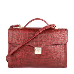 Stampa 01 Women's Handbag, Croco Melbourne Ranch,  red