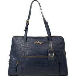 109 02 Handbag, croco,  blue