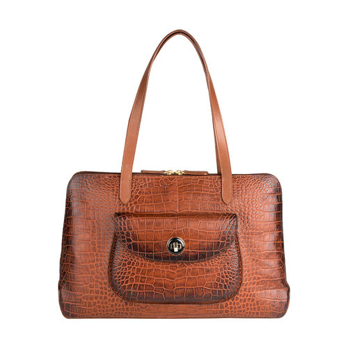 Croco 02 Handbag,  tan