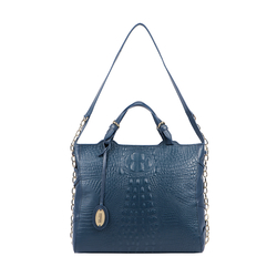 CHARLESTON 01 WOMEN'S HANDBAG BABY CROCO,  midnight blue
