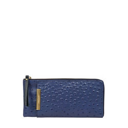 Maple W1 Sb (Rfid) Women's Wallet Ostrich Embossed Melbourne Ranch,  midnight blue