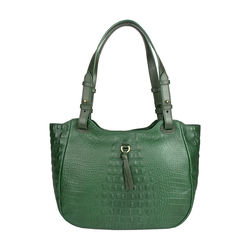 Fleur 01 Women's Handbag, Baby Croco Melbourne Ranch,  emerald