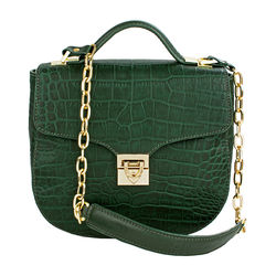 Sb Elsa Women's Handbag, Croco Melbourne Ranch,  emerald green
