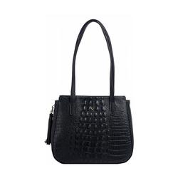 Rive Gauche 02 Women's Handbag, Baby Croco,  black