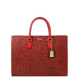 Kester Women's Handbag, Flower Embossed,  red
