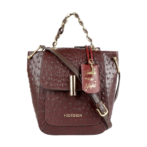 ROMANCE 02 WOMENS HANDBAG OSTRICH EMBOSSED,  brown