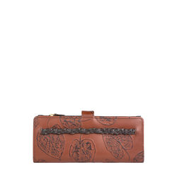 Meryl W3 Women's Wallet, E. I. Leaf Emboss Roma Melbourne Ranch,  tan