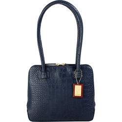 Estelle Small Handbag, croco,  midnight blue