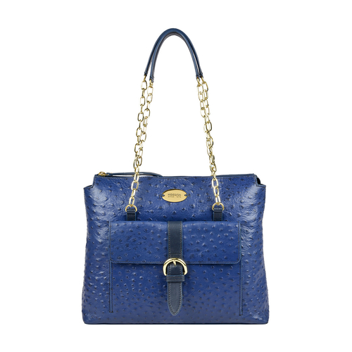 ELIZA 01 SB WOMENS HANDBAG OSTRICH EMBOSS,  midnight blue