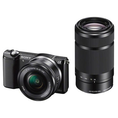 Sony ILCE-5000Y Digital Camera (with SELP1650 & SEL55210 Lens),  black