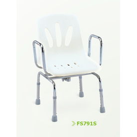 Shower chair with armrest and swivel mechanism