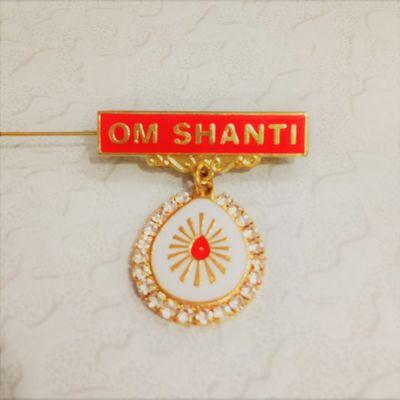 621 - Badge - Shiv Baba - White Stone (White)