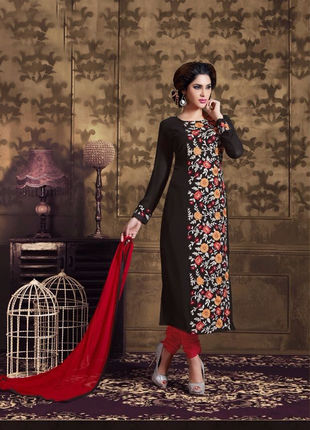 Black Embroidered Georgette Semi Stiched Straight Cut Suit