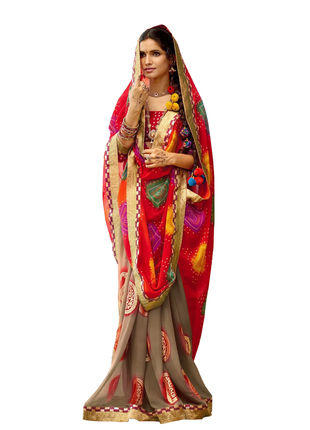 Red and Light Brown Chiffon Bandhani Printed Saree