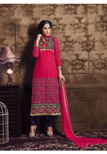 Hot Pink Embroidered Georgette Semi Stiched Straight Cut Suit