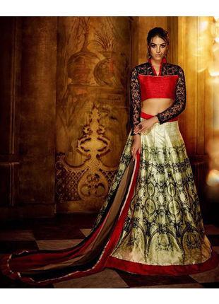 Multicolored Banglori Silk Designer Printed Semi Stitched Lehengas with Designer Blouse Piece