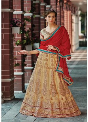 Beige and Red Festive Net Embroidered Lehenga with Designer Blouse Piece and Chiffon Dupatta