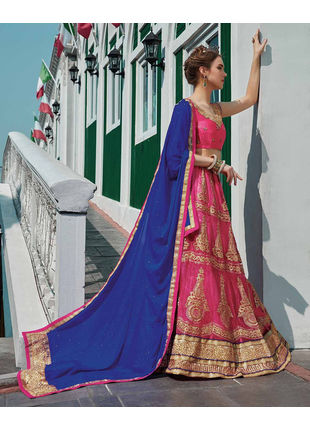 Pink and Blue Festive Net Embroidered Lehenga with Designer Blouse Piece and Chiffon Dupatta