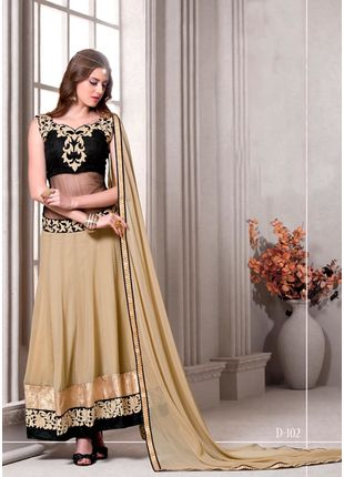 Beige and Black Embroidered Georgette Semi stitched Salwar Kameez