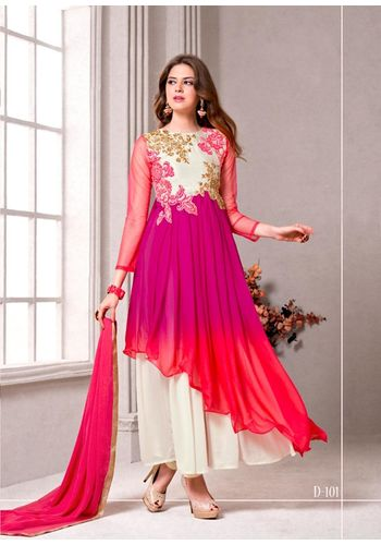 White and Pink Embroidered Georgette Semi stitched Salwar Kameez