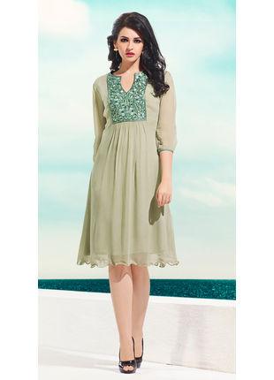 Beige Georgette Designer Fashionable Kurti (Size: L)