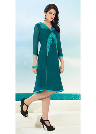 Sea Green Georgette Designer Fashionable Kurti (Size: M, L and XL)